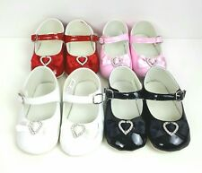 BABY GIRLS CHRISTENING PATENT PRAM SHOES WHITE/BLACK/ RED/PINK LOVE HEART BOW