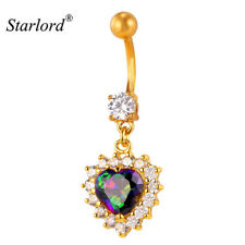 Crystal Belly Ring Cute Heart Button Navel Body Piercing Bar Jewelry Dangle Gold