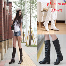 Women's Mid Calf Knee High Round Toe Slouch Comfort Casual Flat Knight Boots