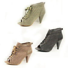 WOMENS LADIES PEEP TOE HIGH HEEL ANKLE CANVAS BOOTS BOOTIES SHOES SIZE 3-8