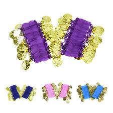 K9 1 Pair Belly Dance Wear Bracelets Wrist Ankle Arm Cuffs Shiny Beads Gold Coin