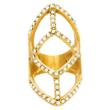 Vintage Crystal Gold Tone Hollow Diamond Ring Women Finger Ring Jewelry
