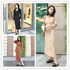Women's V Neck Long Sleeve Tie High Waist Side Slit Rib-knit Shift Sweater Dress