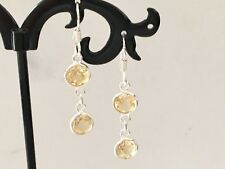 925 Sterling Silver Citrine 2 Double Gemstone Disc Round Circle Drop Earrings