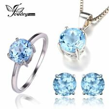 6ct Blue Topaz Ring Earrings Necklace Jewelry Sets 925 Sterling Silver
