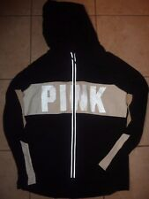 VICTORIAS SECRET PINK REFLECTIVE TRACK JACKET WORKOUT STRETCH ZIP HOODIE NWT
