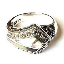 (SIZE 6,8) ABALONE SHELL & MOTHER of PEARL RING Marcasite .925 STERLING SILVER