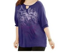 Just My Size Plus SIze 3/4 Sleeve Blue Top Shirt Tunic Top 1X  2X 3X 5X NWT