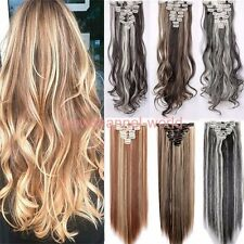 US Real Thick Clip In Hair Extensions Long Straight Full Head Hair Extentions F2