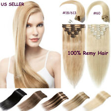 8 Pieces Clip in Extension 100% Real Remy Human Hair Extensions Full Head Blonde