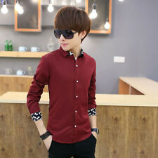 Long sleeved Slim fit Korean styles cotton shirt Men's Shirts Casual