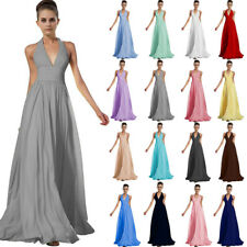 Long Chiffon Prom Dress Bridesmaid Formal Evening Party Ball Gown Stock UK 8-24