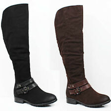 WOMENS LADIES CASUAL LOW HEEL ZIP UP KNEE HIGH RIDING BOOTS SHOES SIZE 3-8