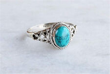 Vintage Women Men 925 Silver Ring Turquoise Party Wedding Engagement Size 6-10