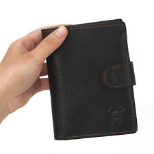 Cowhide Leather Men's Zipper Passport Organizer Bifold Wallet Black Brown Purse