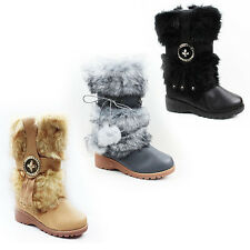 WOMENS LADIES WINTER FUR LINED WEDGE MID CALF YETI BOOTS BOOTIES SHOES SIZE 3-8