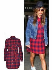 Women Ladies Belt Button Collar Tartan Check Print Shirt Dress Longline Top 6-14