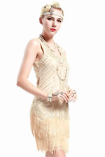 Ladies 1920s Flapper Dress Fringed Great Gatsby Costume & Cocktail Party Outfit