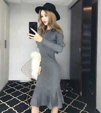 Sexy Women's Fishtail Dresses Long Sleeve Sweater Cocktail Dress Beading Sheath