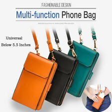 Universal Leather Shoulder Bag Pouch Card Slot Wallet Case Cover For Cell Phones