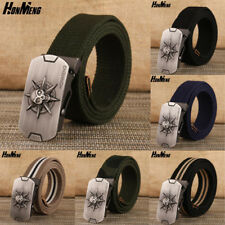 Mens High Quality Thick Canvas Web Belt Casual Jeans Belt Strap Skeleton Buckle
