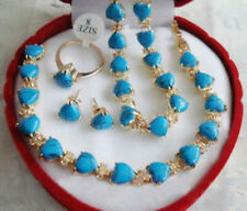 Set 18K Gold Plated Turquoise Heart Necklace Bracelet Earring Ring Women Jewerly
