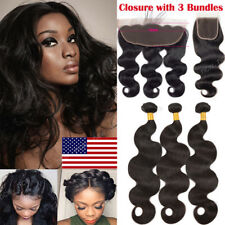7A Virgin Human Hair Extension Weave 3 Bundles with Lace Frontal Closure 13*4 US