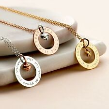 Personalised Sterling Silver Circle Charm Necklace, Gold and Rose Gold