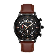 Business Luminous Chronograph Mens Watch Waterproof Hollow Dial Leather Strap