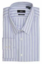 NEW BRADY US HUGO BOSS MEN'S STRIPED REGULAR FIT COLLAR SHIRT PURPLE DRESS SHIRT
