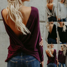 UK Women Long Sleeve Backless Pullover Tops Ladies Casual Loose Blouse T-Shirt