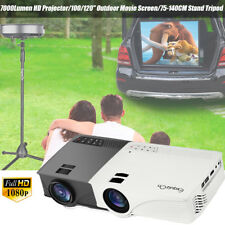 7000Lumen 1080P 3D LED Projector Home Theater +100/120/84/72'' Projection Screen