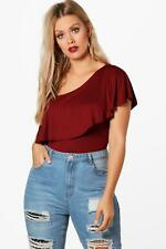NEW Boohoo Womens Plus Emily One Shoulder Frill Bodysuit in Viscose