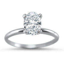 Forever ONE Moissanite solitaire engagement ring oval 14k White Gold