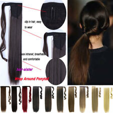 US 100% Real Natural Clip in As Human Hair Extensions Ponytail Long High Quality