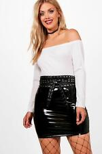 NEW Boohoo Womens Plus Harper Off The Shoulder Ribbed Bodysuit in Polyester
