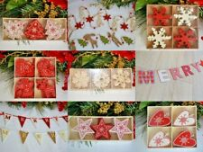 Shabby Chic red & white wooden tree decorations star heart snowflake garland