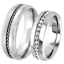 His and Hers 2 PC Stainless Steel Wedding Eternity CZ Ring Anniversary Band Set