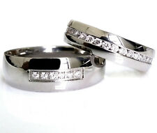His and Hers Stainless Steel Wedding Eternity CZ Ring Anniversary Match Band Set