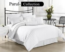 New Luxury Hotel Collection White Striped 1000 TC 100%Cotton US Bedding All