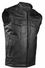 Motorcycle Leather Club Vest 2 Concealed Gun Pocket Race Inspired Collar