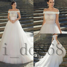 Ivory/Pink Off Shoulder Wedding Dresses Bridal Gowns Sleeveless Lace Long Aline
