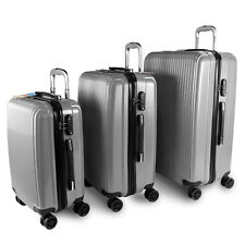 Solid Luggage 3 Piece PC Rolling Suitcase Set TSA Approved Luggage Locks