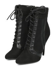 New Women Wild Diva Bonnie-21 Faux Suede Pointy Lace Up Sports Stripe Ankle Boot