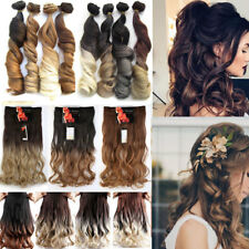 Ombre Gradient Long Hair Extensions 3/4 Full Head Clip in Natural Real Hairpiece