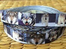 """3 or 5 yards 7/8"""" brown SINGLE WOLF grosgrain ribbon- FLAT RATE SHIPPING"""