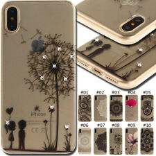 For Apple ZTE Phone Skin Bling TPU Clear Soft Crystal Rhinestone Case Cover Back