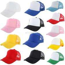 Mesh Baseball Cap Trucker Hat Blank Curved Visor Hat Adjustable Plain Color Caps