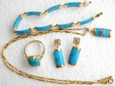 Set 4 PCS 18K Gold Plated Turquoise Pendant +Bracelet+Earrings Ring Jewelry