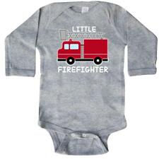 Inktastic Red Fire Little Firefighter White Text Long Sleeve Creeper Baby Truck
